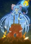 :< belt colored fire fujiwara_no_mokou full_moon hand_in_pocket highres moon night shaula shigurio solo standing suspenders touhou