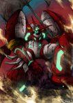 blade blood haganef huge_weapon kneeling mecha no_humans severed_head shin_getter-1 shin_getter_robo signature sitting solo weapon