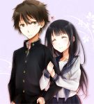 1girl arm_hug black_hair brown_hair chitanda_eru closed_eyes couple gakuran green_eyes hyouka long_hair oreki_houtarou school_uniform serafuku shimoku_reyu short_hair