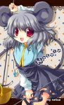 bad_id basket capelet grey_hair happy jewelry looking_at_viewer mouse_ears mouse_tail nazrin open_mouth pendant ratise red_eyes short_hair smile solo tail touhou