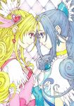 2girls aida_mana blonde_hair blue_eyes blue_hair choker colored_pencil_(medium) couple cure_diamond cure_heart dokidoki!_precure earrings eye_contact forehead-to-forehead heart hishikawa_rikka jewelry light_smile lips long_hair looking_at_another multiple_girls pink_eyes ponytail precure profile sayococco smile traditional_media yuri