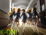 akiyama_mio barefoot black_hair blonde_hair brown_eyes brown_hair hallway hirasawa_yui k-on! kotobuki_tsumugi legs long_hair multiple_girls myng nakano_azusa school_uniform short_hair skirt tainaka_ritsu tears twintails