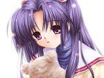 bear clannad game_cg hair_bobbles hair_ornament ichinose_kotomi long_hair official_art school_uniform smile solo stuffed_animal stuffed_toy tears violet_eyes