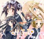 5girls akiyama_mio black_hair blazer blonde_hair blue_eyes blush brown_eyes brown_hair flower guitar hair_ornament hairband hairclip highres hirasawa_yui instrument k-on! kotobuki_tsumugi long_hair multiple_girls musical_note nakano_azusa necktie open_mouth quin_(himegata_alice) school_uniform short_hair skirt smile tainaka_ritsu twintails