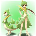 gradient_hair green_hair high_heels long_hair moemon multicolored_hair personification pokemon pokemon_(game) pokemon_black_and_white pokemon_bw red_eyes servine shoes sleeveless sleeveless_dress tail tenjou_ryuka
