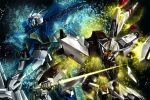 gundam gundam_seed gundam_seed_a-star highres mecha nana_g sparkle sword tsx-01-x1_trias tsx-02r_garland weapon