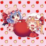 2girls :d :o ^_^ apple apple_core ascot bat_wings blouse blush chibi climbing closed_eyes eating fang flandre_scarlet food food_on_face fruit looking_at_viewer minigirl mob_cap multiple_girls open_mouth remilia_scarlet short_hair skirt skirt_set smile swami touhou vest wings