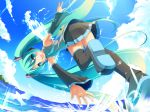 aqua_eyes aqua_hair detached_sleeves hatsune_miku long_hair masaki_(machisora) necktie skirt sky smile solo thigh-highs thighhighs twintails very_long_hair vocaloid water wings zettai_ryouiki