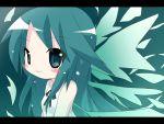 bad_id blush chibi dress green_hair long_hair rensei ribbon saya saya_no_uta smile solo sundress very_long_hair wings