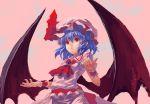 blue_hair hat red_eyes remilia_scarlet short_hair solo tomneko_(superhornet) touhou wings
