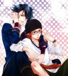 2boys black_hair blue_eyes fushimi_saruhiko glasses hat headphones k_(anime) multiple_boys okomochi red_eyes redhead shorts skateboard yata_misaki