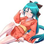1girl aqua_hair green_eyes hatsune_miku highres japanese_clothes kimono long_hair nail_polish oonishi_shunsuke ponytail solo very_long_hair vocaloid white_background yukata