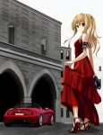 asakura_ryou_(artist) blonde_hair car dress driving_shoes high_heels motor_vehicle original red_dress sandals shoes solo vehicle