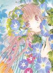 brown_eyes brown_hair clamp flower hanato_kobato happy headdress kimono kobato long_hair pink_hair