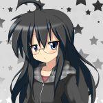 black_eyes black_hair blue_eyes blush glasses hoodie izumi_konata kurokona long_hair lucky_star mai_(t-5) mai_t-5 mole solo star