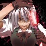 gloves hair_in_mouth hair_ribbon hairband katana konpaku_youmu red_eyes ribbon sakurame short_hair silver_hair sword touhou weapon