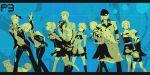 aegis amada_ken android aragaki_shinjirou arisato_minato baseball_cap beanie blue boots bow digital_media_player everyone hand_in_pocket hat headphones iori_junpei kirijou_mitsuru knee_boots koromaru multiple_boys multiple_girls persona persona_3 ribbon s.e.e.s sanada_akihiko school_uniform short_hair skirt takeba_yukari trench_coat trenchcoat vest yamagishi_fuuka