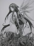 dress graphite_(medium) grayscale greyscale highres long_hair monochrome monster_girl saya saya_no_uta sketch solo traditional_media very_long_hair wings