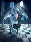bare_shoulders barefoot bat_wings blue_hair blue_rose chair checkered checkered_floor corset demon_wings elbow_gloves fingerless_gloves flower gloves hat high_heels highres legs maryo moon moonlight night red_eyes remilia_scarlet rose shoe_dangle shoes short_hair single_shoe sitting skindentation smile smirk solo thigh-highs thighhighs touhou window wings