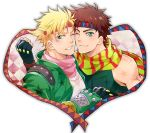 2boys blonde_hair blue_eyes brown_hair caesar_anthonio_zeppeli danemaru facial_mark fingerless_gloves fist_bump gloves green_eyes green_jacket jacket jojo_no_kimyou_na_bouken joseph_joestar_(young) multiple_boys scarf star wink