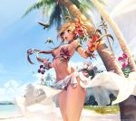 armband beach bikini bird blonde_hair blue_eyes bracelet flower hair_flower hair_ornament hibiscus hips jewelry kkuem long_hair navel open_mouth original outstretched_arms palm_tree sarong slender_waist solo spread_arms swimsuit tree wind_lift wristband