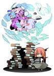 bat_wings blindfold book bubble chibi cup floating head_wings ink koakuma long_hair multiple_girls nose_bubble nyuusankin open_mouth patchouli_knowledge pen plate purple_hair red_eyes red_hair redhead sleeping teacup touhou wings