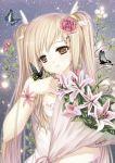 1girl butterfly caidychen dress flower hair_flower hair_ornament light_smile lily_(flower) long_hair original otacool otacool4 solo star twintails very_long_hair