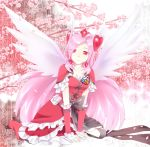 alternate_costume angel_wings ayamoto boots bow cherry_blossoms cure_angel cure_passion dress earrings flower fresh_precure! head_wings heart higashi_setsuna jewelry kneeling long_hair magical_girl petals pink_hair pouch precure red_eyes solo tiara tree wings