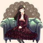 black_hair doily hat ichimatsu1990 iwasaki_rio long_hair pantyhose persona persona_3 persona_3_portable sitting smile solo