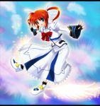 blue_eyes brown_hair fingerless_gloves gloves long_hair mahou_shoujo_lyrical_nanoha mahou_shoujo_lyrical_nanoha_a's mahou_shoujo_lyrical_nanoha_a's ok-ray outstretched_arms spread_arms takamachi_nanoha twintails