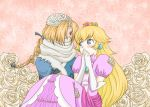bandages blue_eyes blush braid carrying crown elbow_gloves flower gloves hair_over_one_eye long_hair nintendo princess_carry princess_peach princess_zelda red_eyes reverse_trap sheik super_mario_bros. super_smash_bros. surcoat the_legend_of_zelda yuri