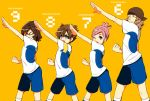 1girl 3boys armband blue_eyes brown_hair character_name closed_eyes inazuma_eleven_(series) inazuma_eleven_go inazuma_eleven_go_galaxy kusaka_ryuuji matsukaze_tenma multiple_boys nano_(lanthan00) nozaki_sakura open_mouth pink_hair shindou_takuto shinsei_inazuma_japan simple_background soccer_uniform wink yellow_background