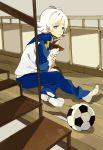 blue_eyes cat floor fubuki_shirou holding inazuma_eleven loo short_hair single_shoe sitting stairs uniform white_hair