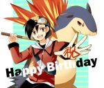 1boy backwards_hat cue_stick goggles goggles_on_head gold_(pokemon) happy_birthday hat mokorei pokemon pokemon_(creature) pokemon_(game) pokemon_gsc pokemon_special smile translated typhlosion