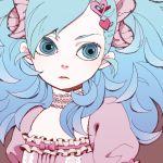 blue_hair choker hair_ornament homa original otacool solo