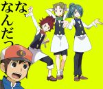 apron blue_hair corn_(pokemon) corn_(pokemon)_(cosplay) cosplay dent_(pokemon) dent_(pokemon)_(cosplay) endou_mamoru green_hair hair_over_one_eye inazuma_eleven kazemaru_ichirouta midorikawa_ryuuji mmr_magazine_mystery_chousa_han nagumo_haruya parody pod_(pokemon) pod_(pokemon)_(cosplay) pokemon pokemon_(game) pokemon_black_and_white pokemon_bw ponytail red_hair redhead