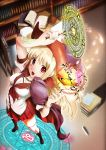 anonimasu bad_id blonde_hair blush book bookshelf breasts cape chain hat highres library long_hair magic magic_circle open_mouth red_eyes solo wand witch_hat wristband