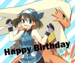 1girl blaziken blue_eyes brown_hair fangs gloves happy_birthday hat mokorei odamaki_sapphire pokemon pokemon_(creature) pokemon_special smile
