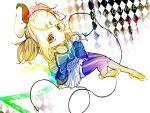 alternate_hairstyle bad_id blonde_hair brown_eyes dress from_above hagi_(artist) hair_ornament hair_ribbon hairclip headphones headphones_around_neck high_heels kagamine_rin kagamine_rin_(roshin_yuukai/hard_rkmix) long_hair looking_up ribbon roshin_yuukai_(vocaloid) shoes skirt solo spot_color thigh-highs thighhighs twintails vocaloid zettai_ryouiki