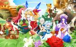 alternate_color alternate_hair_color bad_id bat_wings blonde_hair blue_eyes blue_hair blue_rose braid chinese_clothes crescent crescent_moon crystal flandre_scarlet flower green_eyes hat head_wings highres hong_meiling izayoi_sakuya koakuma kotomuke_fuurin long_hair multiple_girls patchouli_knowledge pitcher pointy_ears ponytail purple_eyes purple_hair rainbow red_eyes red_hair red_rose redhead remilia_scarlet rose shijimi-sama short_hair side_ponytail silver_hair thigh-highs thighhighs touhou translated violet_eyes wallpaper white_legwear white_thighhighs wings