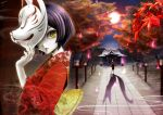 fire fox_mask gemini_(pixiv) highres japanese_clothes lips mask original otacool pale_skin shadow short_hair shrine tree yellow_eyes