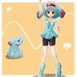 1girl bike_shorts hairband lowres moemon personification phanpy pokemon pokemon_(creature) pokemon_(game) pokemon_gsc tenjou_ryuka