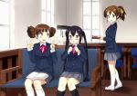 bad_id black_hair blush brown_eyes brown_hair couch hirasawa_ui k-on! long_hair masamuuu multiple_girls nakano_azusa ponytail school_uniform short_hair short_twintails suzuki_jun twintails vulcan_salute