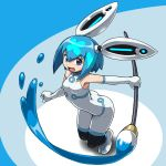 blue_hair bunny_girl clover gloves heart open_mouth paint paintbrush pixiv pixiv-tan rabbit_ears robot_ears rohitsuka short_hair simple_background solo