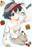 black_hair cake candy candy_cane casual cherry food fruit hamburger idolmaster kikuchi_makoto mizushima_aru perspective rainbow short_hair strawberry t-shirt visor visor_cap wink