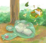 lying no_humans pokemon pokemon_(game) pokemon_black_and_white pokemon_bw reuniclus sewaddle tree