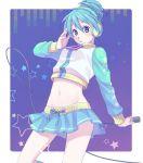 alternate_hairstyle blue_eyes blue_hair hatsune_miku headphones kannuki_hisui microphone midriff navel project_diva project_diva_2nd skirt solo vocaloid zipper
