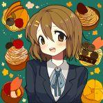 brown_eyes brown_hair cupcake dadami food hirasawa_yui k-on! mont_blanc_(food) school_uniform short_hair tart_(food)