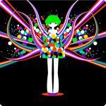 dress green_hair mojihara original ribbon solo