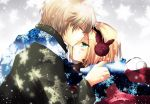 aplerichi axis_powers_hetalia bad_id blonde_hair blush bunny bunny_earmuffs closed_eyes earmuffs forehead_kiss green_eyes kiss multiple_boys poland_(hetalia) rabbit russia_(hetalia) scarf short_hair sweatdrop